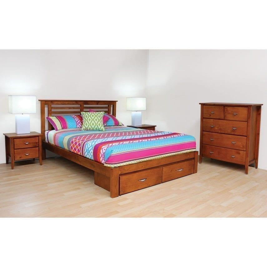Kobi 5 piece bedroom suite queen one stop pine for Queen bedroom suite for sale