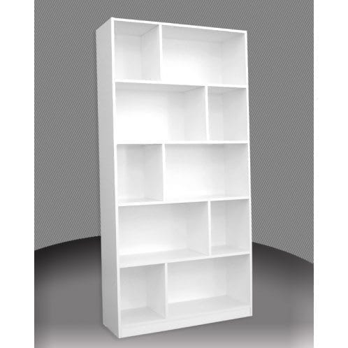 Melamine 6x3 Staggered Bookcase 1800x900mm One Stop Pine