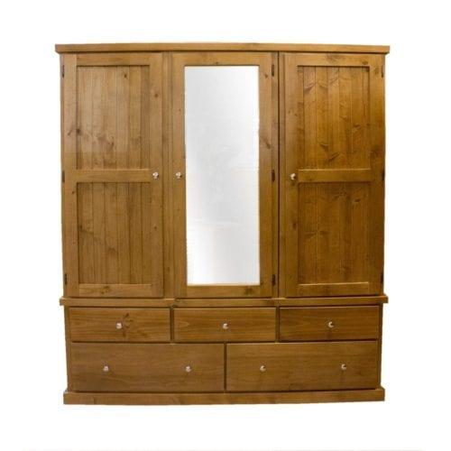 Apartment 3 Door 5 Drawer Wardrobe _Timber Wardrobes