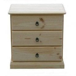 Savannah 3 Drawer Bedside 600mm RAW_Chests Timber
