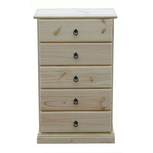 Savannah 5 Drawer Chest 600mm RAW_Chests Timber