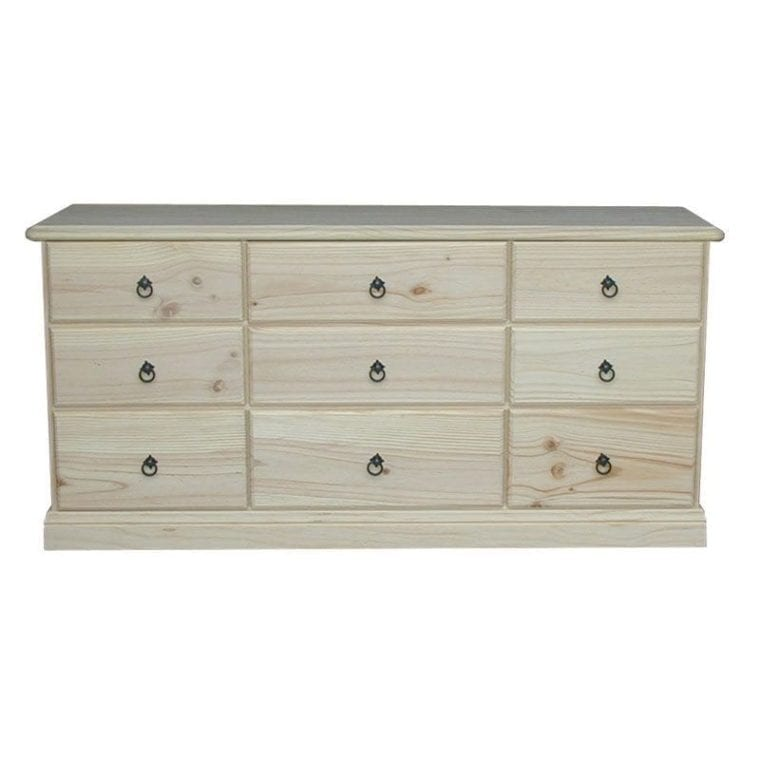 Savannah 9 Drawer Chest 1540mm Wide RAW_Chests Timber