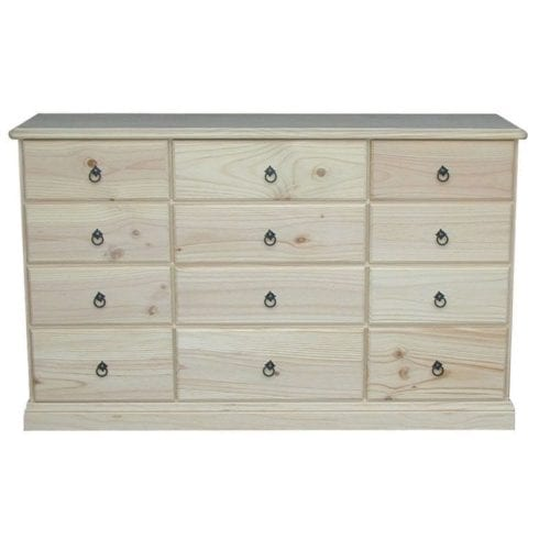 Savannah 12 Drawer Chest 1540mm Wide RAW_Chests Timber